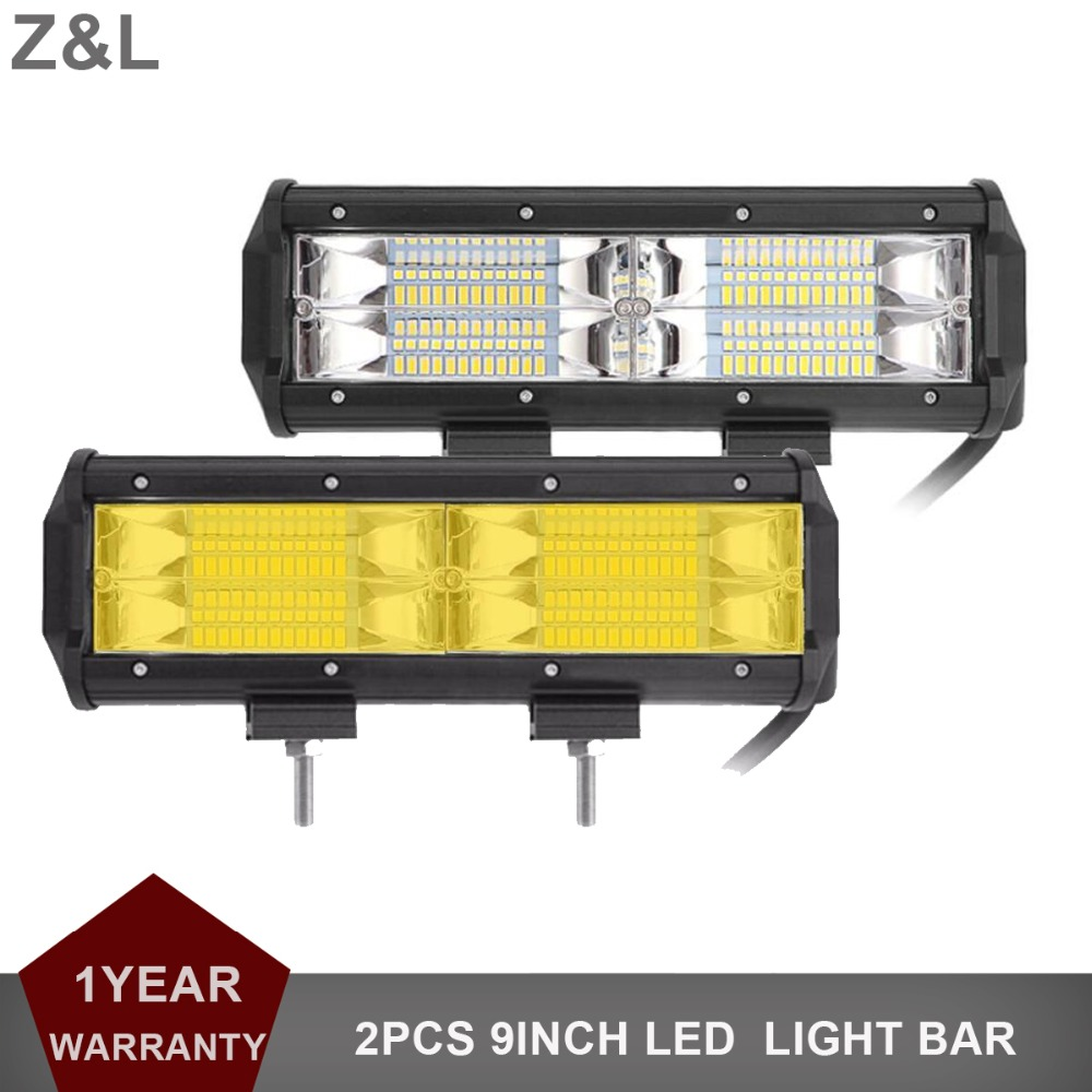 2PCS 9INCH OFFROAD LED WORK LIGHT BAR FLOOD AMBER WHITE WARNING DRIVING LAMP CAR SUV TRUCK