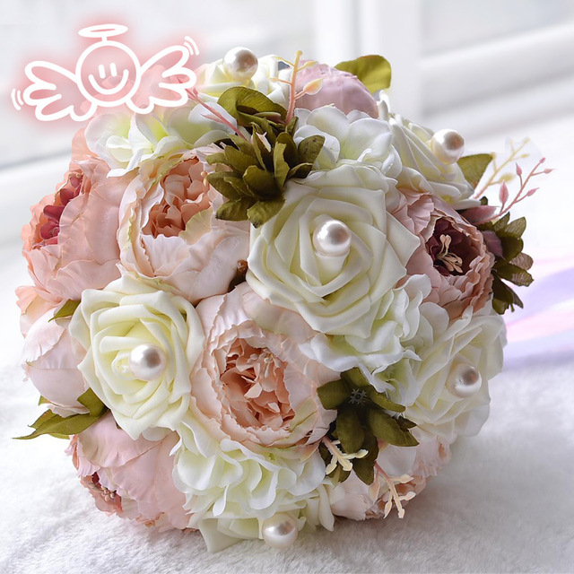 Vintage Artificial Peony Flowers Wedding Bouquets Pearls Brown Pink ...