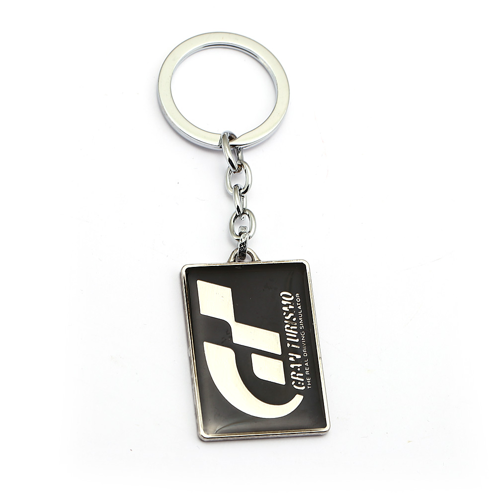 Geometric Keychain Game racing Black White Stitching Color Keyring Gran Turismo GT racing car Keychain pendant Holder