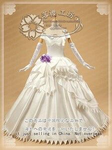 Sword Art Online Yuuki Asuna Cosplay kostium gra karciana szczęśliwy ślub sukienka strój rękawiczki + nakrycia głowy + łuk + sukienka