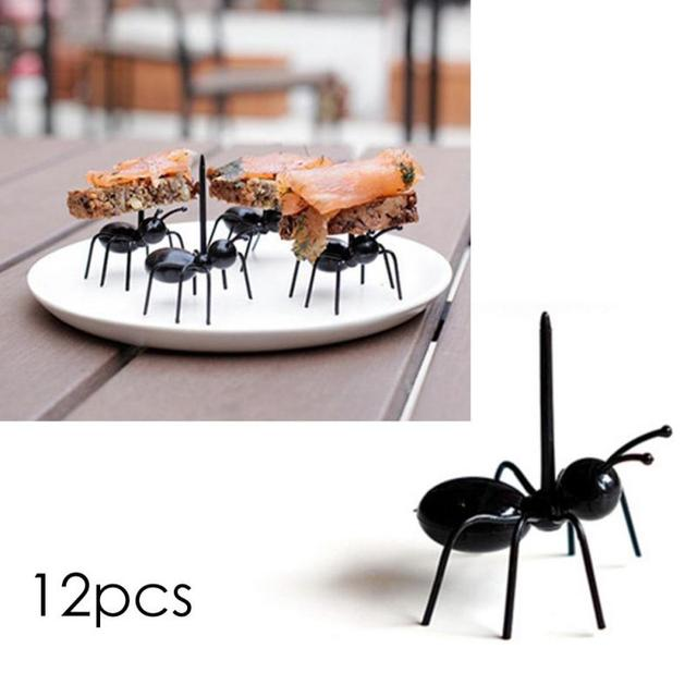 12pcs/set Cute Kitchen Reusable Ant Fruit Fork Plastic Fruit Toothpick Tableware Dessert Cake Snack Forks Design gift H3