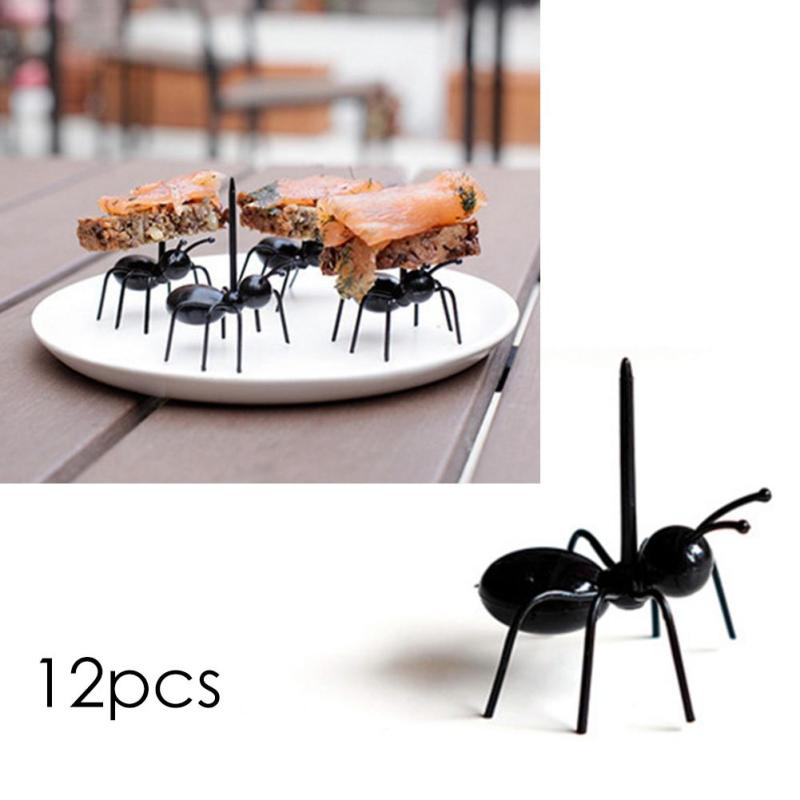 12pcs / set Cute Mini Ant Fruit Fork Plastic Snack Cake Pencuci mulut - Dapur, makan dan bar