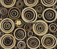 Special Unique Design Round Natural Bamboo Art Mosaic Tiles Bamboo Panel Beautiful Gougers Art Mosaic Tiles