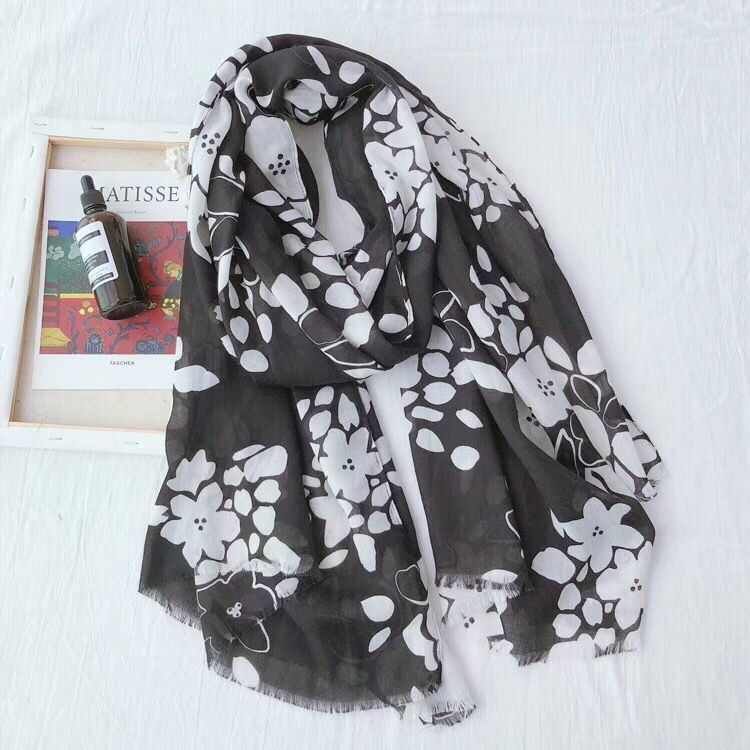 Scarves   women 2019,summer cotton viscose head   scarf     wrap  ,Muslim long flower cover up beach   scarf  ,sjaal floral foulard cape femme