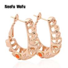 NeeFu WoFu copper ring Earrings gold Earrings boucle doreil Retro Brinco Orecchino di marca Oorbellen Fashion jewelry wholesale(China)