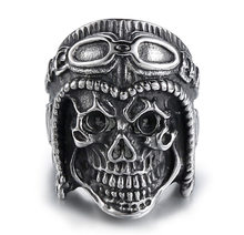 Vintage Cool Skeleton Rings For Men 316L Stainless Steel Ring High Quality Skull Ring For Men Pilot Gold High Quality Jewelry(China)