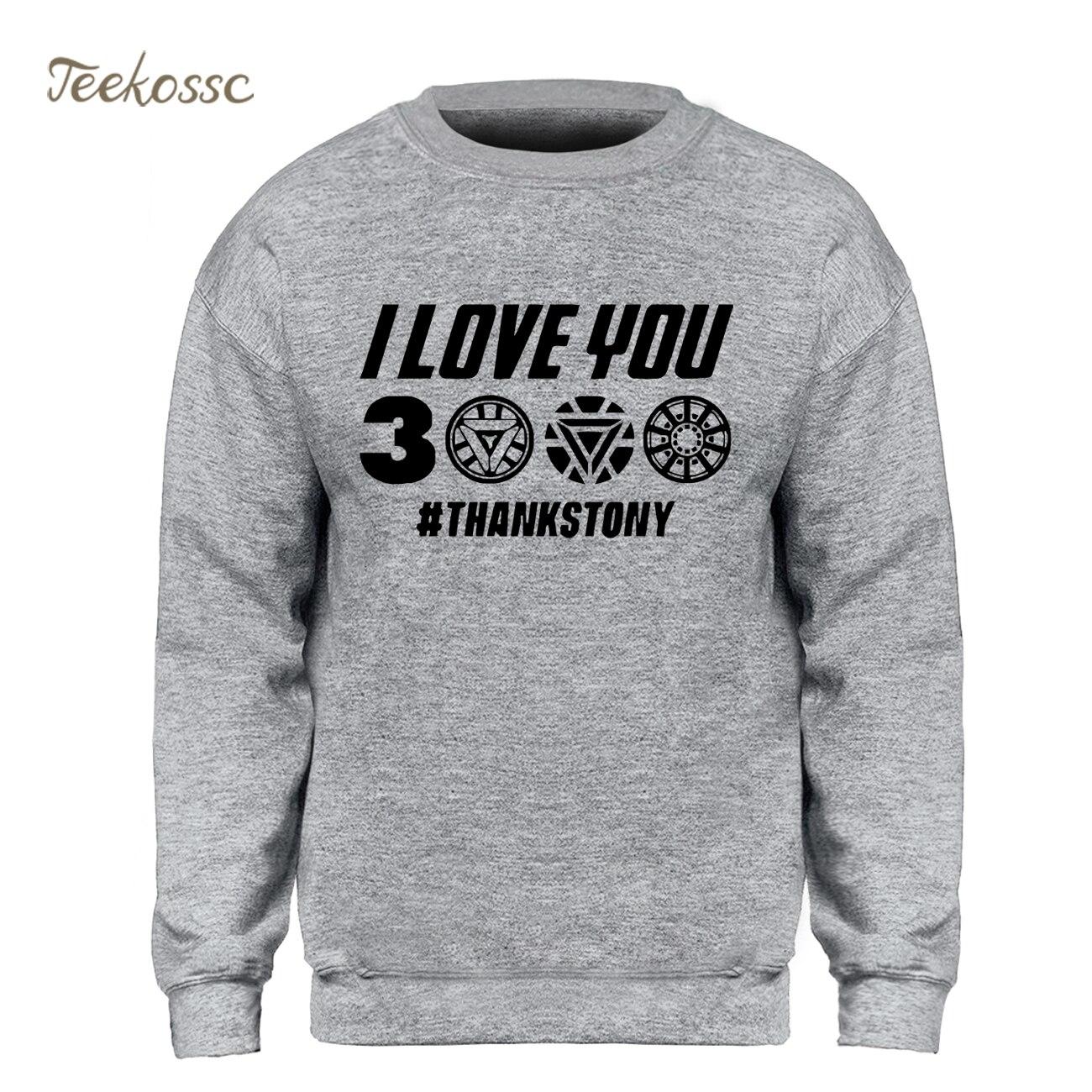 I Love You 3000 Tony Stark Sweatshirt Men Iron Man Hoodie Sweatshirts 2019 Winter Autumn Harajuku Funny Superhero Streetwear