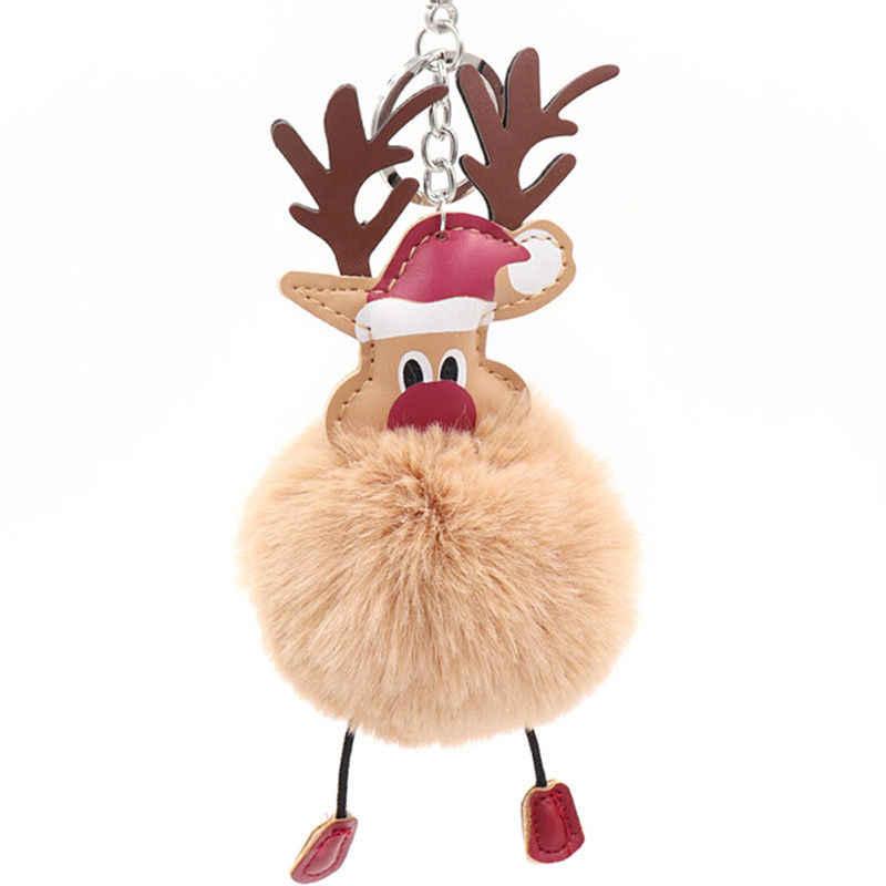 Pompom Pele De natal Dos Cervos Pingente Chaveiro Adorável Fluffy Plush Doll Chaveiro Bolsa Chave Decoração Anel de Moda Jóias de Presente de Natal