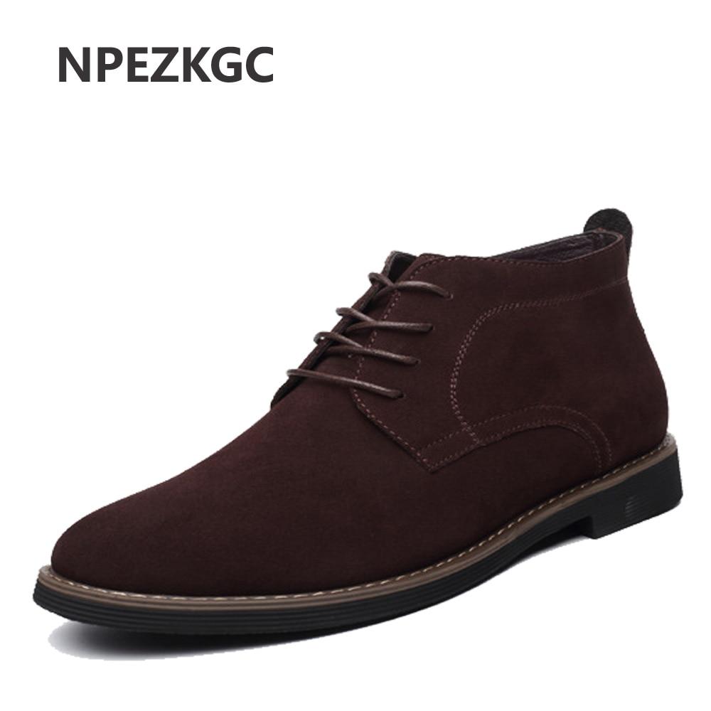 Plus Size 38 45 Men Boots Solid Casual Leather Autumn Winter Ankle Boots NPEZKGC Brand Male Suede Leather Men Shoes