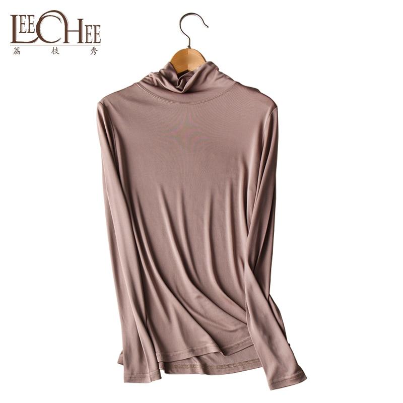 2019 Otoño Invierno mujer naturaleza seda de doble cara tejido seda Real cuello alto fino ropa interior térmica Tops camiseta