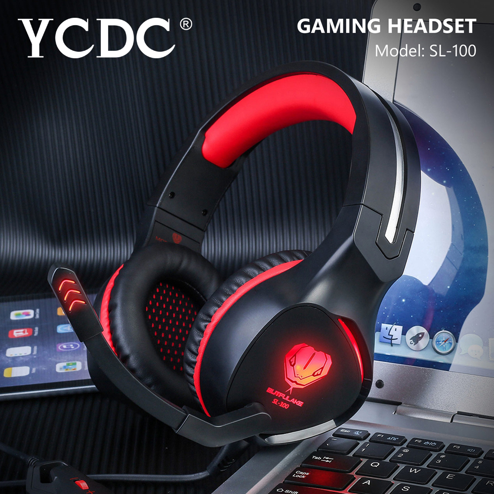 YCDC SL-100 Gaming Headset Wired Noise Canceling Gamer with Microphone Headphones With Mic LED Light Volume Control Computer each g8200 gaming headphone 7 1 surround usb vibration game headset headband earphone with mic led light for fone pc gamer ps4