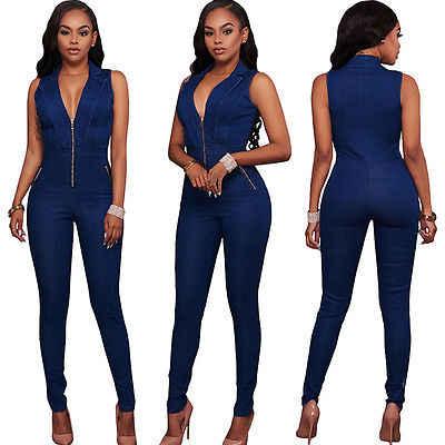 757fefd14fba ... Womens Jeans Jumpsuits Denim Long Pants Sexy Deep V Neck Slim Overalls  Jumpsuit Girl Sleeveless Club ...