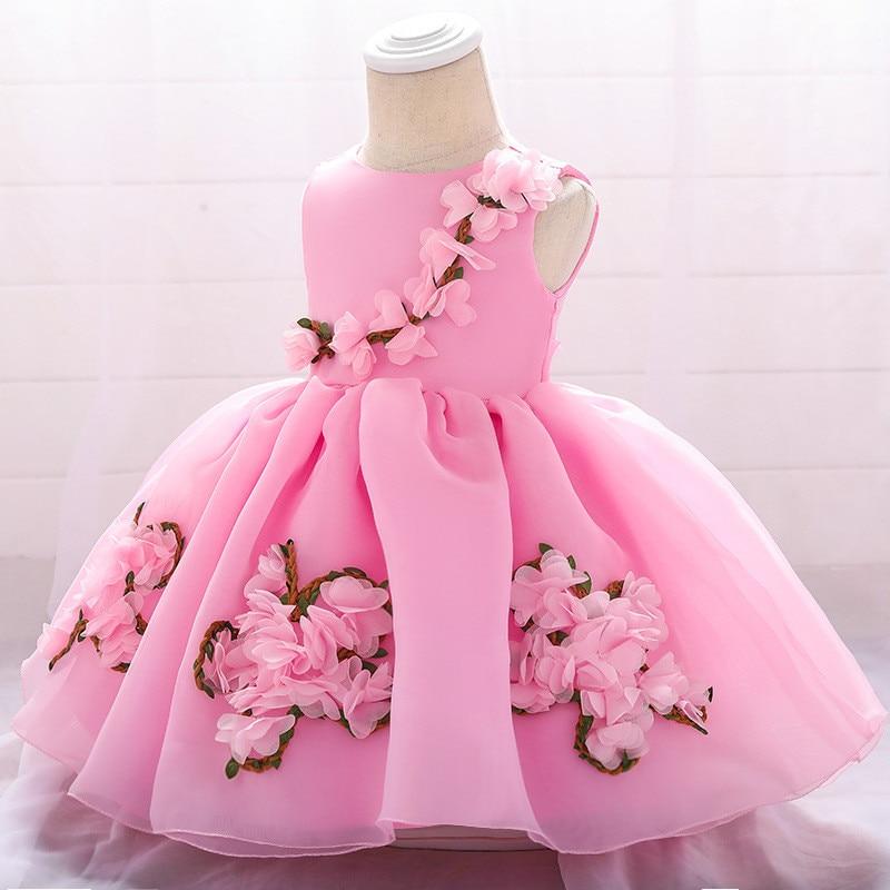 Baby Girl Dress Flower Christening Gown 2019 Newborn Baby Girls 1st Years Birthday Vestido Bowknot Little Baby Tutu Dress
