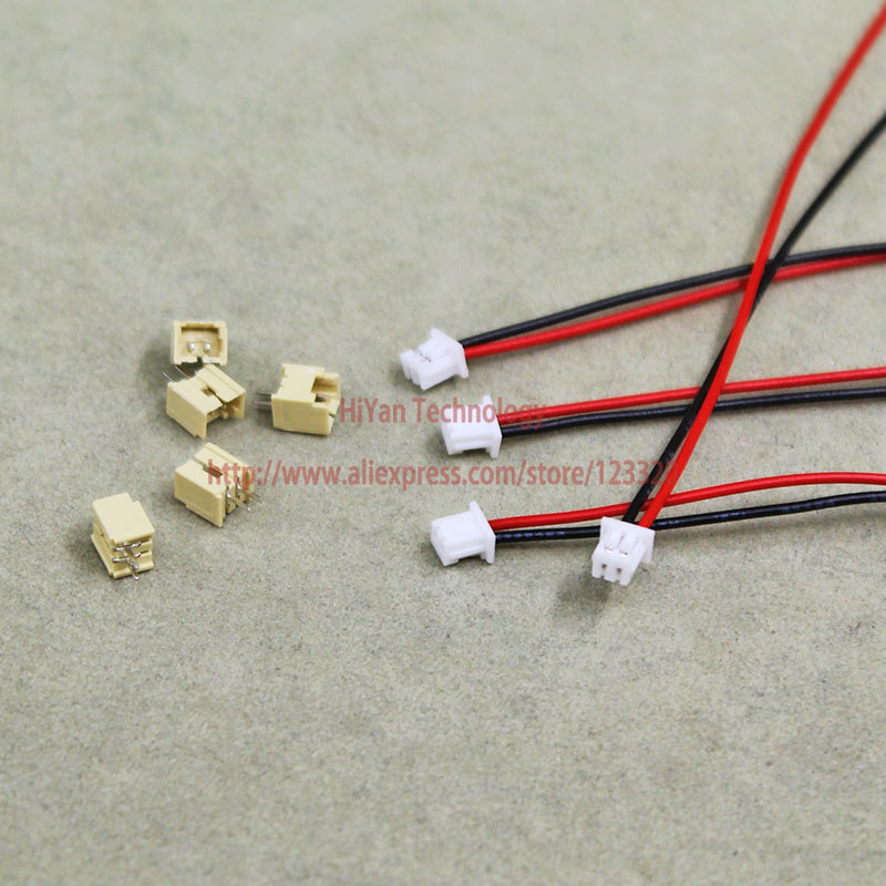 50sets JST Molex 1.25mm Pitch DIP Top Entry 2Pin Connector 100mm To 250mm with 1