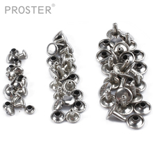 Proster 300 Pairs Silver Two Piece Double Cap Tubular Rivets Leather Punk Craft Repair 6/8/10mm spikes For Paper Leather rivets