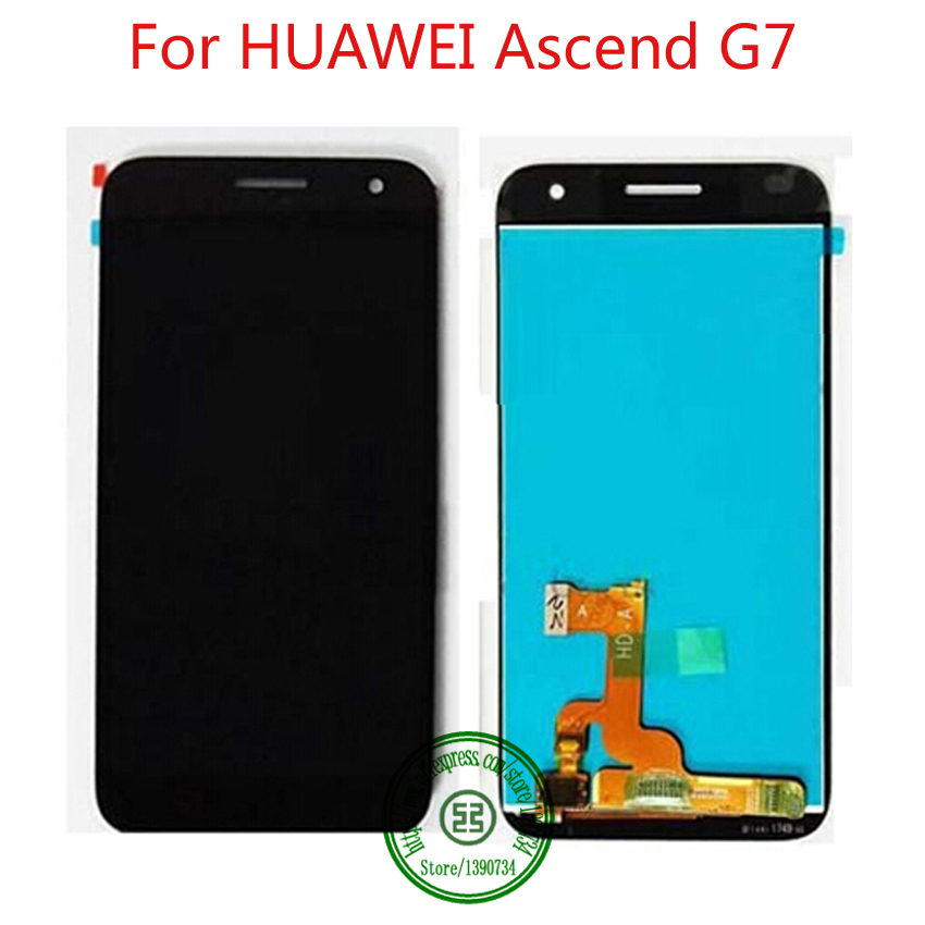 TOP Quality Black Full LCD Display Touch Panel Screen Digitizer Assembly For Huawei Ascend G7 Phone Replacement Repair Parts  top quality full lcd display touch screen digitizer assembly for huawei ascend w1 u00 c00 w1 replacement white