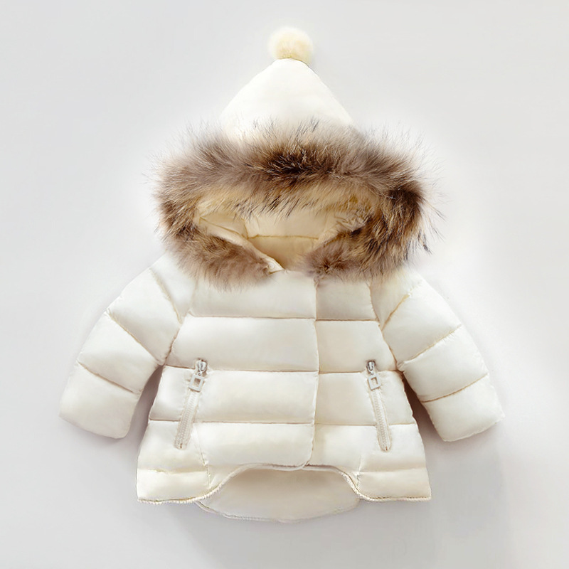 Thickening Coat Girl For 1-6T Kids Warm Cotton Parkas Girls Jacket Winter Solid Feather Outerwear Christmas Hooded Zipper Down russia 2016 children outerwear baby girl winter wadded jacket girl warm thickening parkas kids fashion cotton padded coat jacket