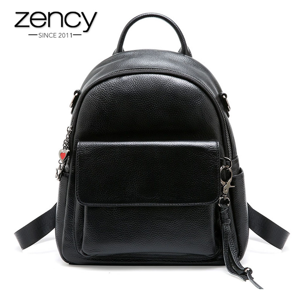 Zency Tassel Decoration Women Backpack 100% Real Cowhide Leather Classic Black Daily Travel Bags Preppy Style Schoolbag Knapsack