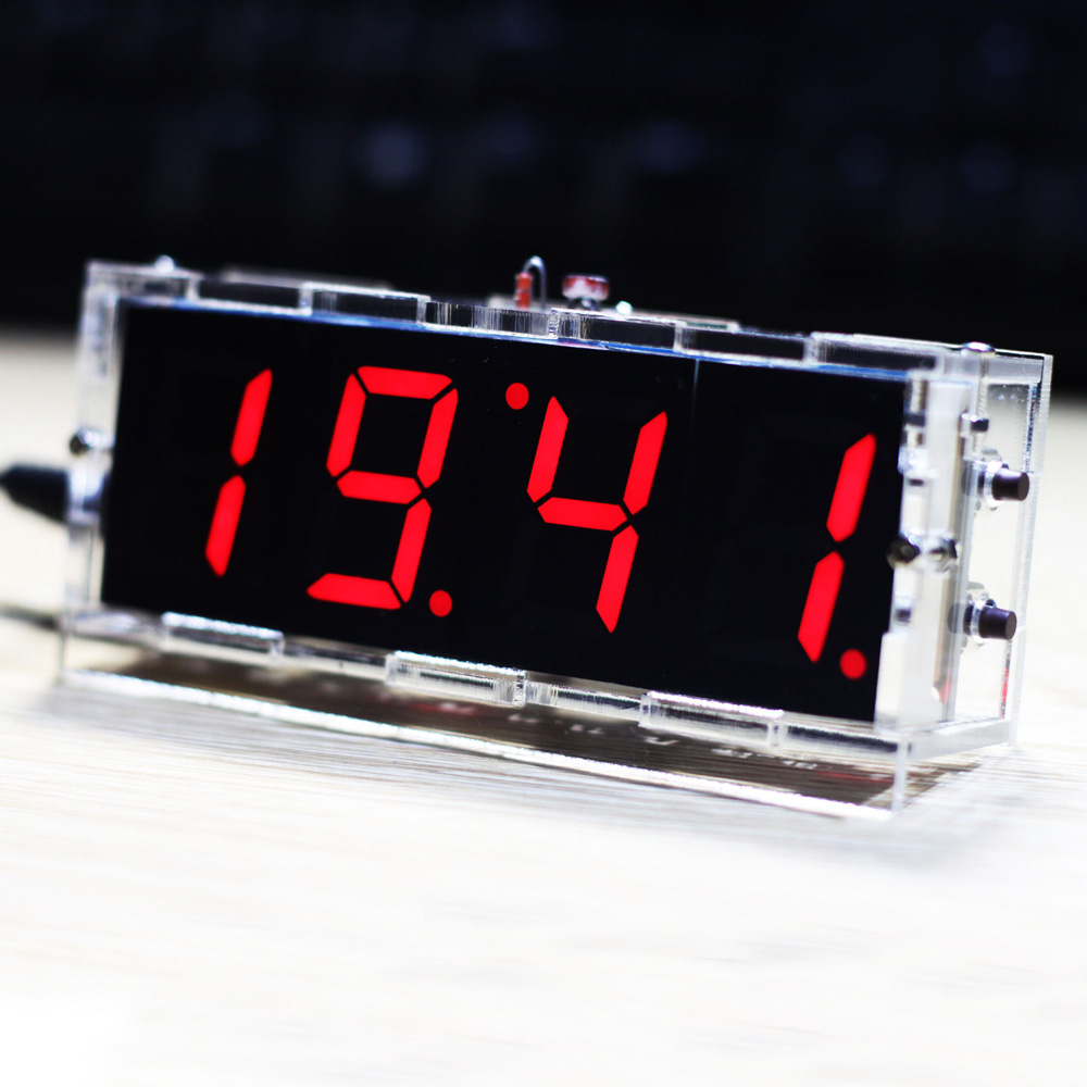 Compact 4-digit DIY Digital LED Clock Kit Light Control Temperature Date Time Display with Transparent Case 100 pcs ld 3361ag 3 digit 0 36 green 7 segment led display common cathode