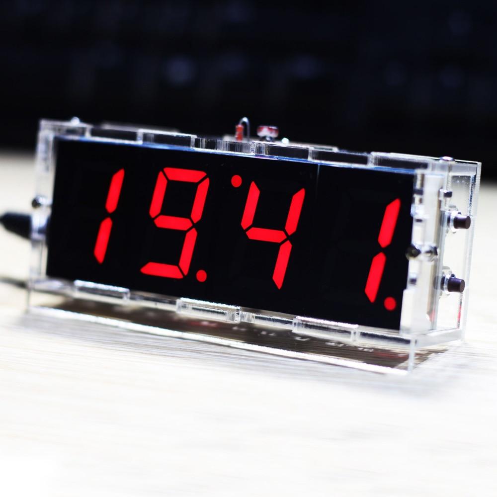 Compact 4-digit DIY Digital LED Clock Kit Light Control Temperature Date Time Display with Transparent Case цена