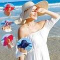 Para mujer Plegable Sombrero de Ala Ancha de Paja Playa de Verano Arco Sol Señoras Floppy Cap Casual