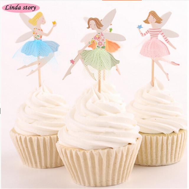 2018 New 24pcs Floral Fairy Cake Topper Baby Shower Cake ...