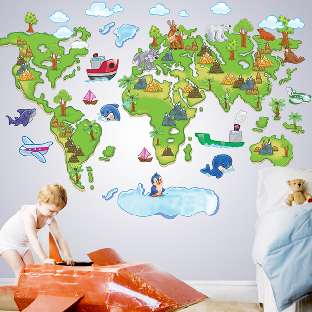 Kids Room World Map Wall Sticker Removable Cute School Wall Stiker - World map for kids room