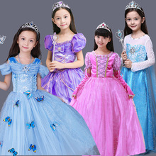 Elsa Costume Dentelle Princesse Robe Avec Long Retour épaule cape enfant en bas âge Fille Vêtements La Reine Des Neiges Filles Costumes Chaude vente