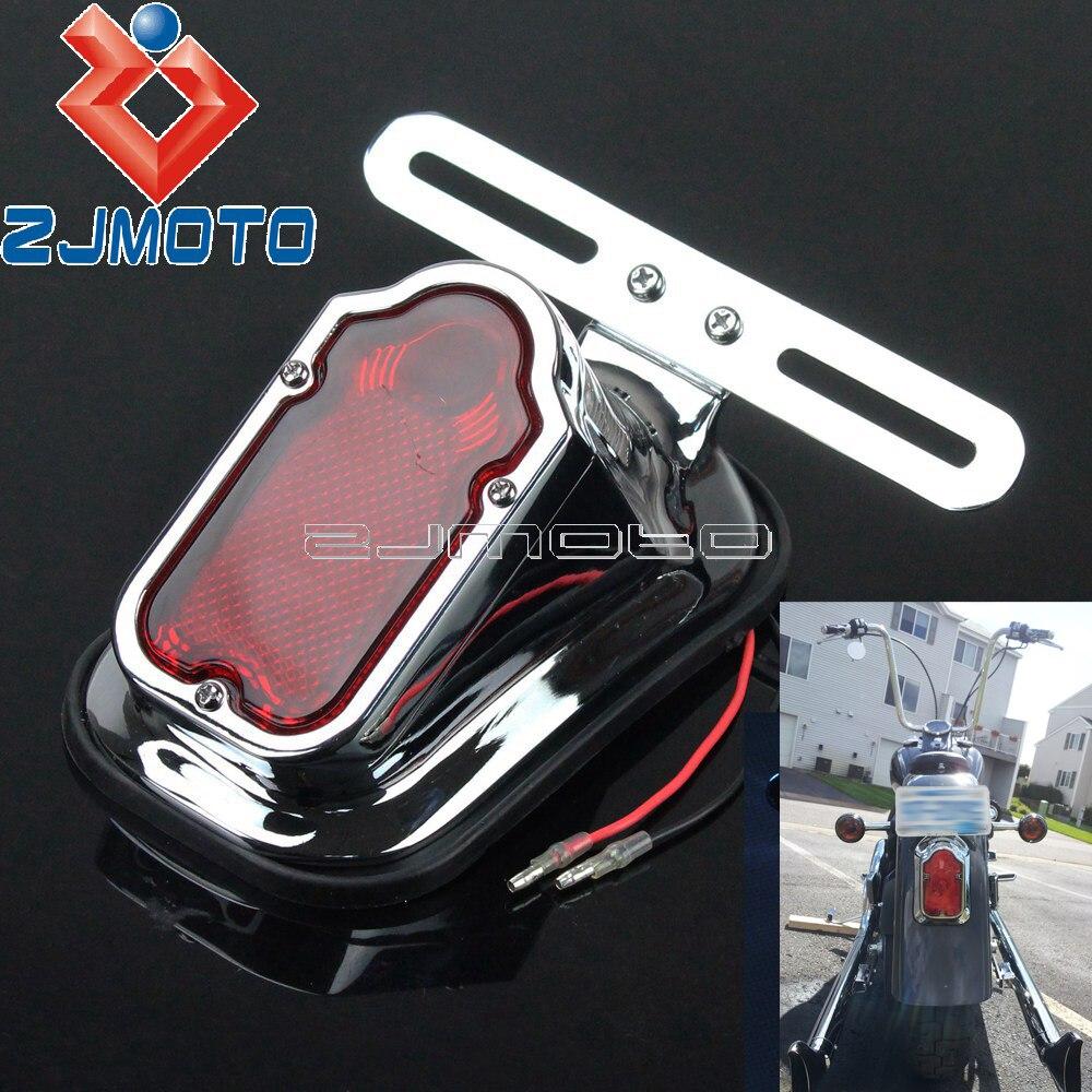 Motorcycle Aluminum Red Tombstone Tail Light For Harley Chopper Bobber Custom Rear Fender Stop Lamp W/ License Plate Bracket