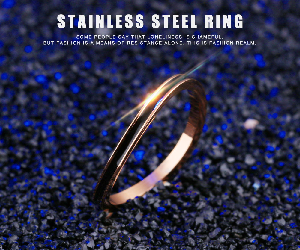 Irregular Surface Rose Gold Color Rings For Women Ultra Thin Black