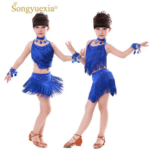 9e612354fff1 Songyuexia Latin tassel Ballroom Dance Dress Kids Girls Dancewear ...