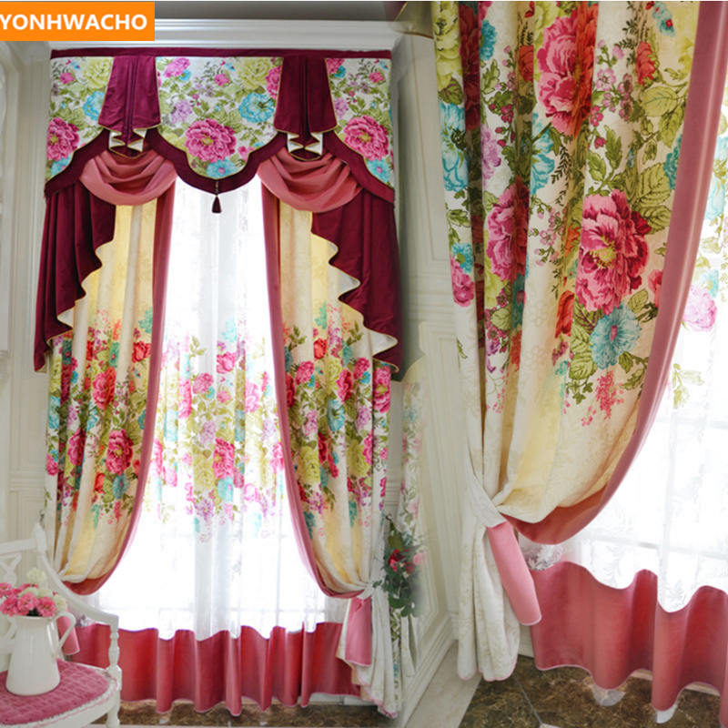 Custom curtains Rural American printed European pastoral romantic wedding room cloth blackout curtain tulle valance drapes N865Custom curtains Rural American printed European pastoral romantic wedding room cloth blackout curtain tulle valance drapes N865