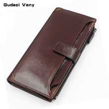 Long leather wallet top layer leather zipper bag mobile phone bag card holder multi-function soft leather wallet large capacity стоимость