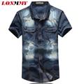 LONMMY М-5XL Камуфляж рубашка мужчины джинсовые рубашки мужчины с коротким рукавом тонкий Camisa социальной Высокое качество Джинсы Повседневная 2016 Лето