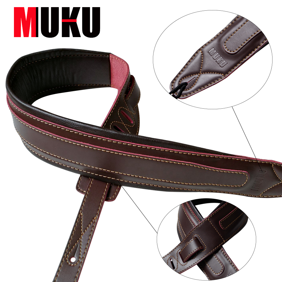 guitar accessories thick genuine leather electric bass guitar strap adjustable acoustic folk. Black Bedroom Furniture Sets. Home Design Ideas