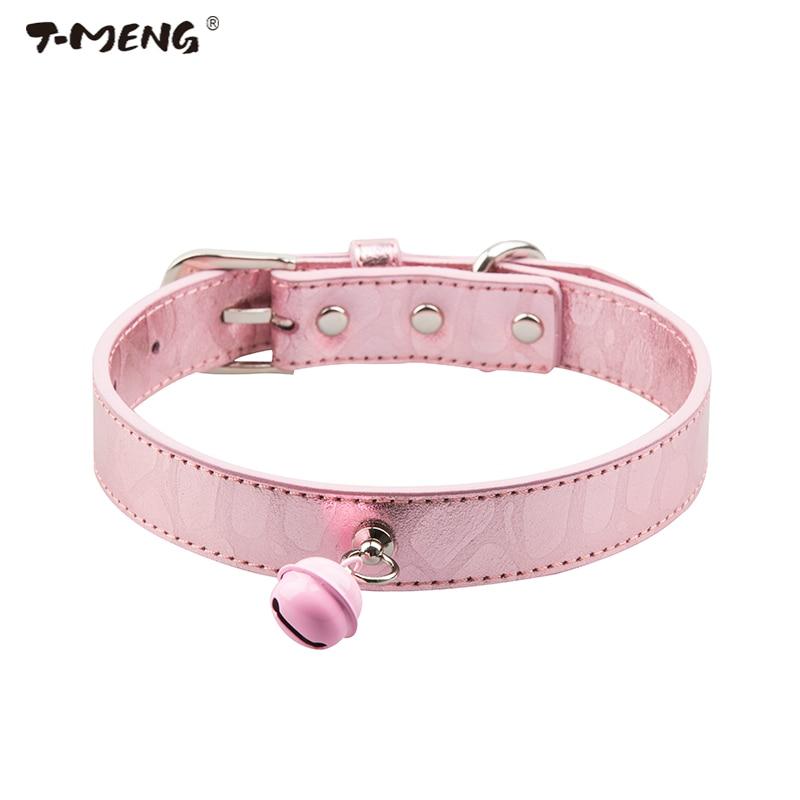 T-MENG Nový lesklý pravý kožený pes obojek Bling Cute Big Bell kočky obojky nastavitelný pro malé střední velké psy Pet produktu  t