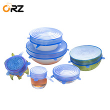 ORZ 6 Pcs Kitchen Tools Bowl Cover Pan Lid Premium Stretch Silicone Food Wrap Fresh-Keeping Sealing Cap