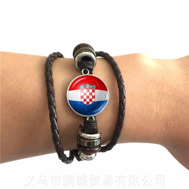 Bélgica, Brasil, México, Marruecos, Croacia, Corea, pulsera de cuero ajustable con cúpula de vidrio de 20mm con logotipo de bandera nacional de fútbol de Costa Rica