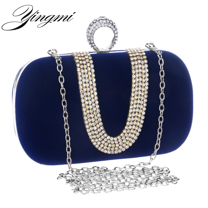 NUEVAS mujeres bolsos de noche de diamantes anillos de diamantes de imitación de
