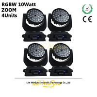 Litewinsune 4pcs Carton LED Wash Moving Head Lighting 36 10W RGBW LED Disco Light ZOOM