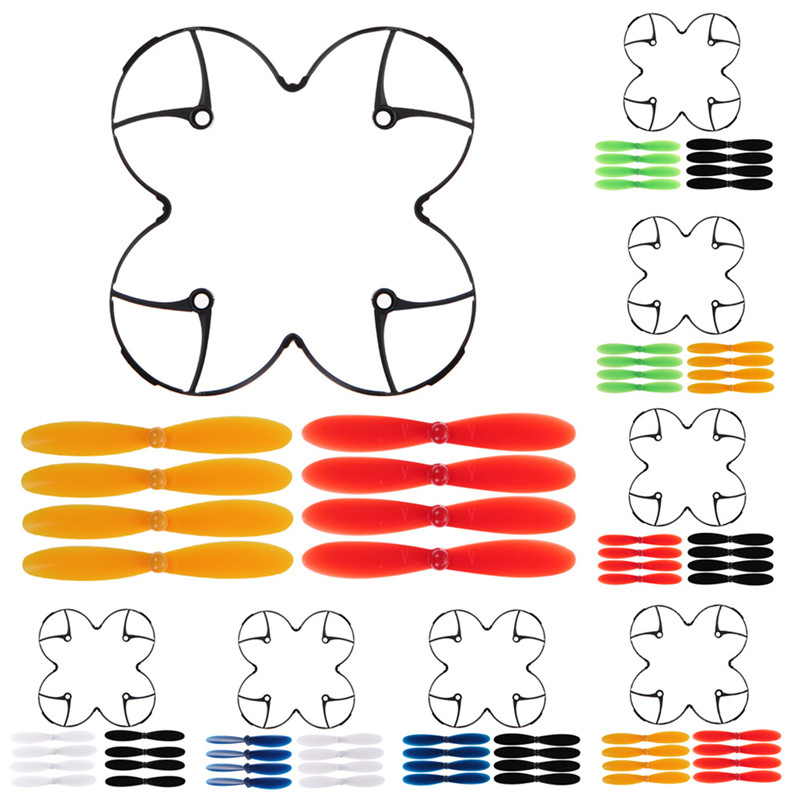 Hubsan X4 H107L Spare Parts Set  8x Blade Propellers with Propellers protection Cover for RC Quadcopter Drone propeller blade set spare parts for hubsan x4 h107c h107l