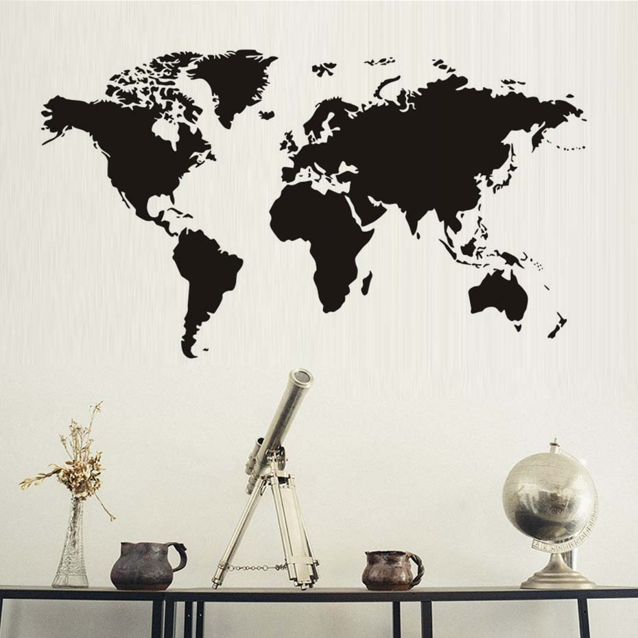 Creative home decor world map atlas wall sticker black printed creative home decor world map atlas wall sticker black printed bedroom decorative removable adhesive vinyl wall decal gumiabroncs Image collections
