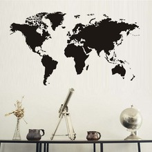 Atlas World Map Wall Sticker Black Printed Bedroom Decorative Removable Adhesive Vinyl Wall Decal Creative Home