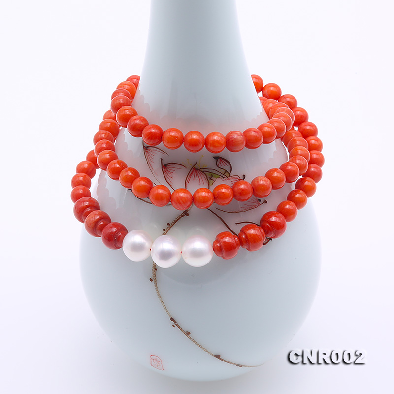 JYX High Quality 5-5.5mm Red Round Coral Necklace with White Pearl Pendant Choker Collar Elegant Women Jewelry 19 Handmade Gift