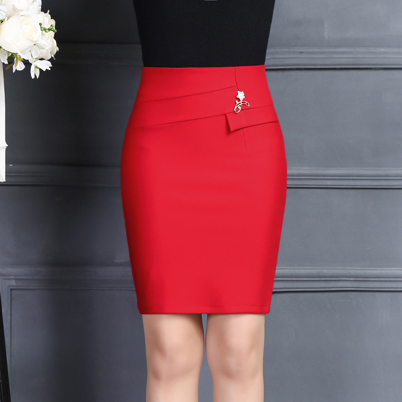 2017 New Arrivals Women Office Skirt Fashion Casual Office Solid Color Brooch High Waist Package Hip Skirt Red Black Mini Skirt
