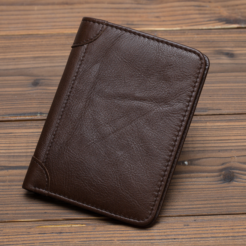 Men Mini Purse Pocket ID/Credit Card Holder Short Designer Simple Fashion High Quality Genuine Leather Vintage Bifold Wallet