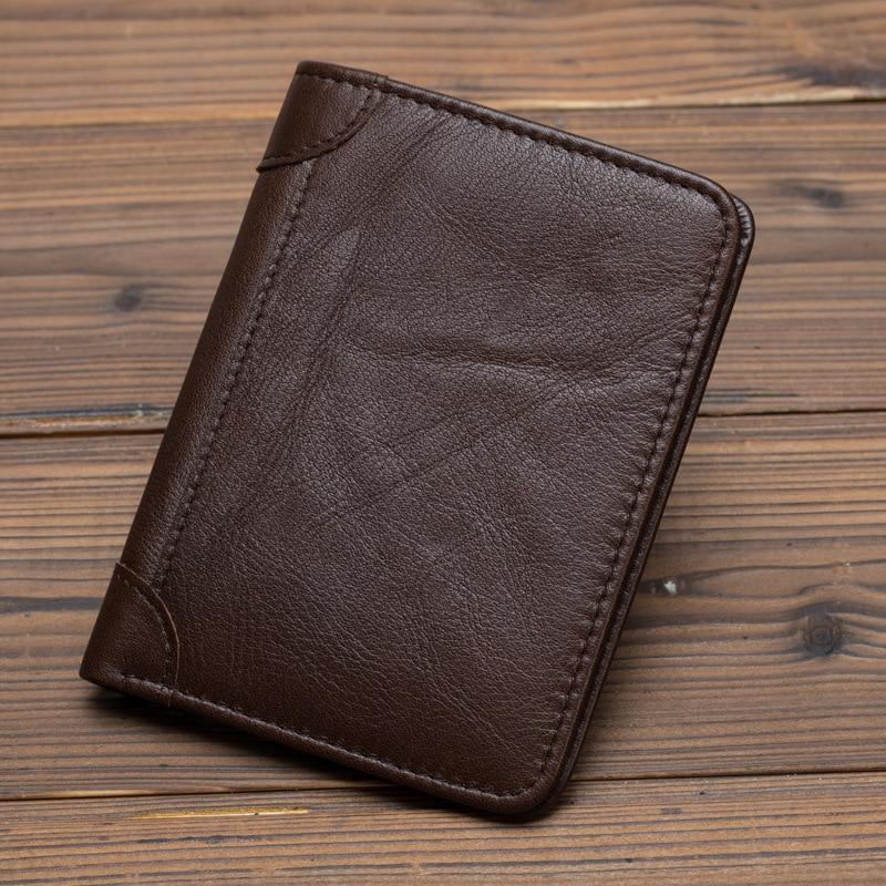 Men Mini Purse Pocket ID/Credit Card Holder Short Designer Simple Fashion High Quality Genuine Leather Vintage Bifold Wallet