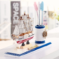 Creative Mediterranean Style Wooden Sailboat Decoration Student Stationery Desktop Pen Holder Children S Day Gift
