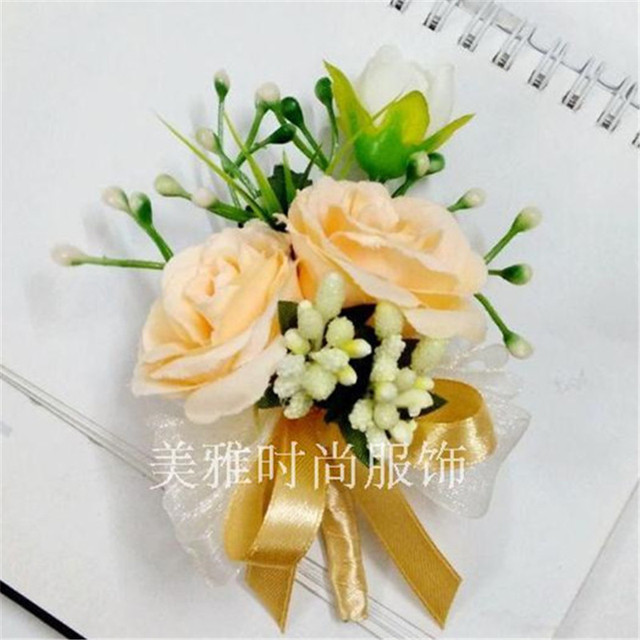 New1 Pcs Corsage For Groom Groomsman Wedding Decoration Wrist Flowers Champagne Rose Flower Boutonnieres Pin Brooch Party Prom