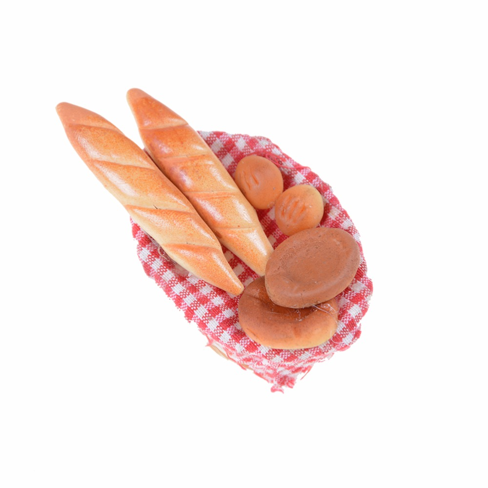 6Pcs/set Kitchen Toys Strip Bread With Basket Miniature Models For  Doll House 1/12 Simulation Of Bread Pretend Play Toy